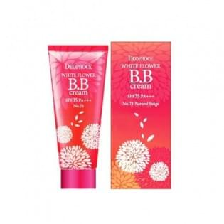 Крем ББ 21 тон DEOPROCE WHITE FLOWER BB CREAM SPF35 PA+++ #21 светло-бежевый, 30 мл.