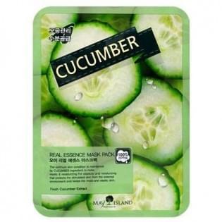 Маска для лица тканевая с огурцом MAY ISLAND Real Essense Cucumber Mask Pack