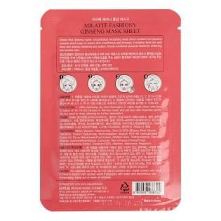 Маска тканевая с экстрактом красного женьшеня MILATTE FASHIONY GINSENG MASK SHEET
