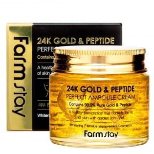 Крем ампульный с золотом и пептидами FarmStay 24K Gold & Peptide Perfect Ampoule Cream, 80 мл.