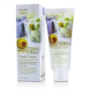 Крем для рук увлажняющий с экстрактом оливы 3W Clinic Olive Hand Cream, 100 мл.