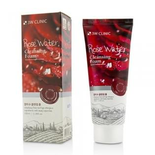 Пенка для умывания натуральная с розовой водой 3W CLINIC  Rose Water Cleansing Foam